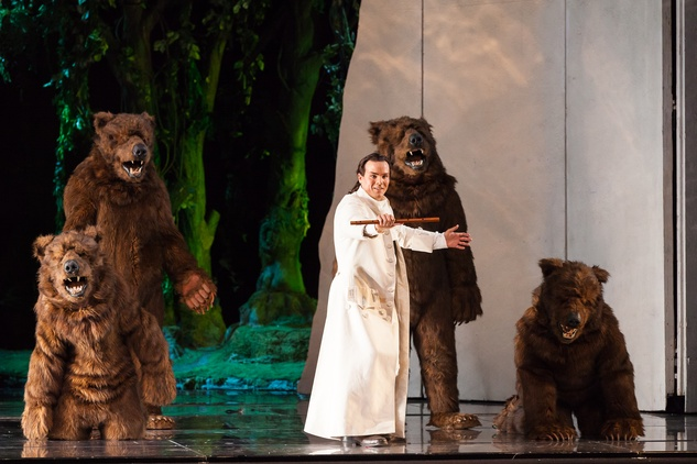 Houston Grand Opera HGO The Magic Flute January 2015 David Portillo as Tamino and supernumeraries