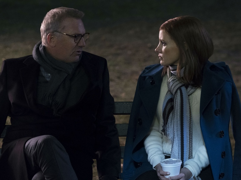 Kevin Costner and Jessica Chastain in Molly's Game