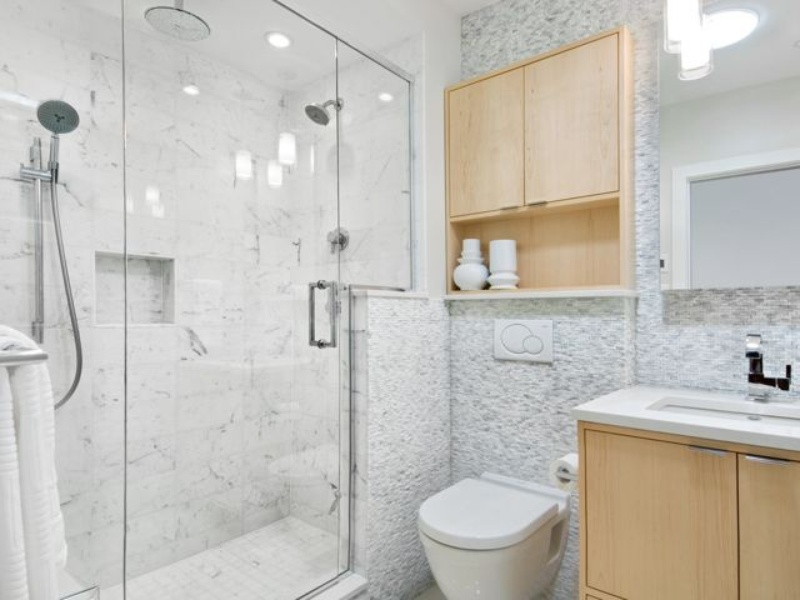 Houzz bathroom with wood accents