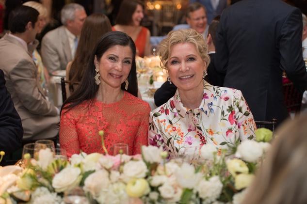Cynthia Petrello, left, and Carol Linn at the Bayou Bend Garden Party March 2015