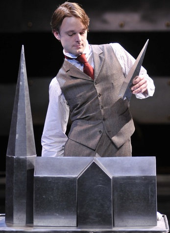Jay Sullivan as Merrick in the Alley Theatre's production of The Elephant Man.