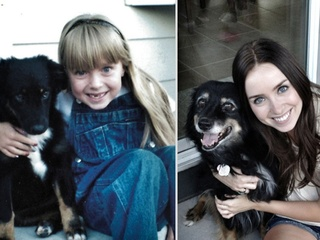 Puppy grows up with owner