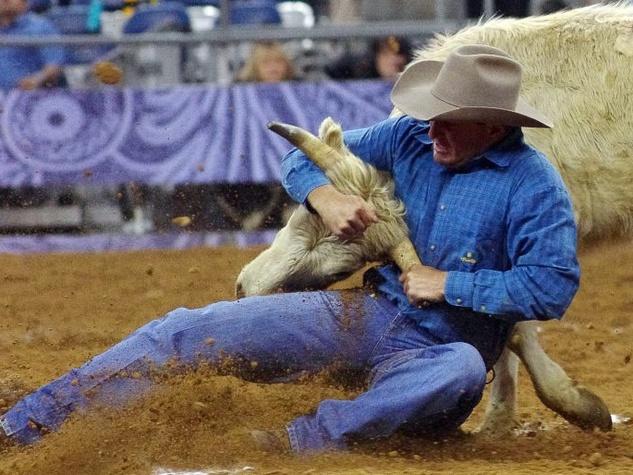 4, Nancy, RodeoHouston, wrestling a bull