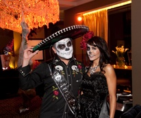 Edward Sanchez and Diane Caplan at the Bone Bash Halloween party October 2013