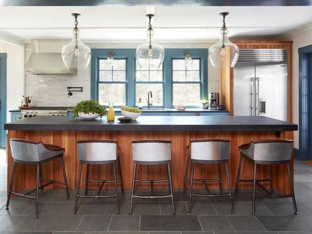 Houzz kitchen with wood island