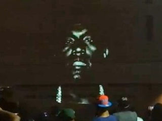 Kayne West New Slaves projection in Austin May 201