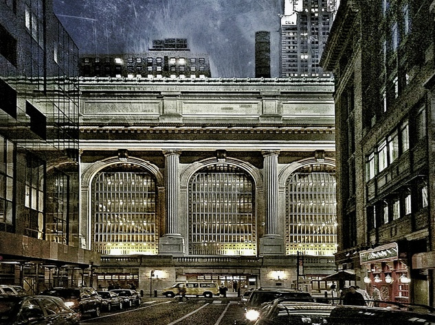 "Archival pigmented ink print, ""Grand Central Terminal and Chrysler Building at Dusk,"" by Dan Burkholder"
