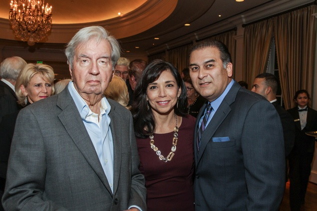 Larry McMurtry, from left, with Laura and Rick Jaramillo at the Center for Houston's Future dinner November 2014