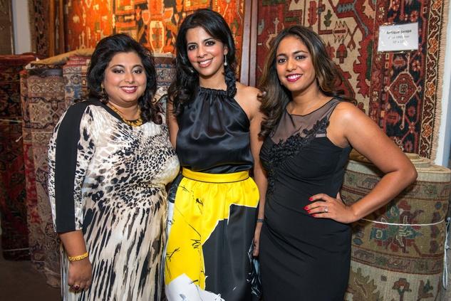 Annie Thomas, from left, Elizabeth Abraham and Rachel Duvvuri at the Abraham's Oriental Rug dinner September 2014
