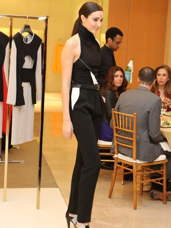 Roland Mouret fashion show, Neiman Marcus, December 2012, black halter top with slacks