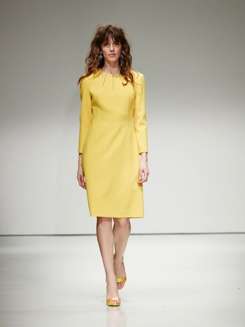 Escada Wool Crepe Sunburst Dress