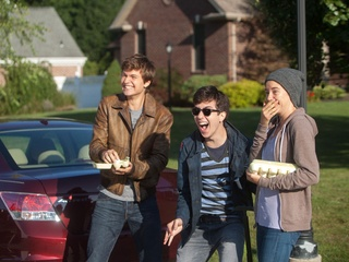 Ansel Elgort, Nat Wolff and Shailene Woodley in The Fault in Our Stars