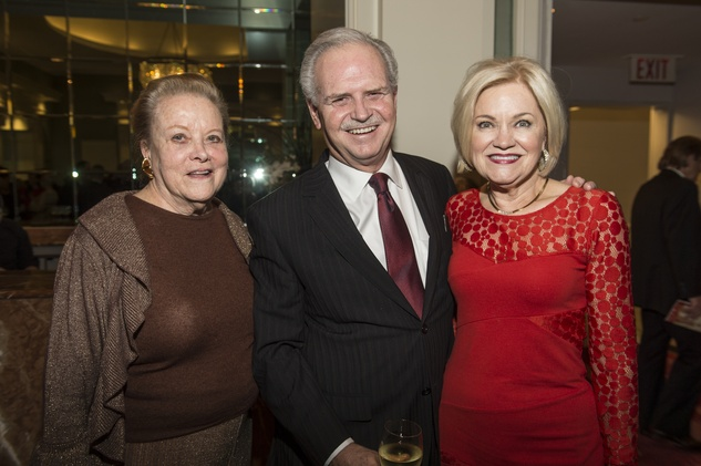 Charlotte Hill, left, with Jim and Jo Furr at the Houston Ballet Jubilee of Dance Onstage Dinner December 2014