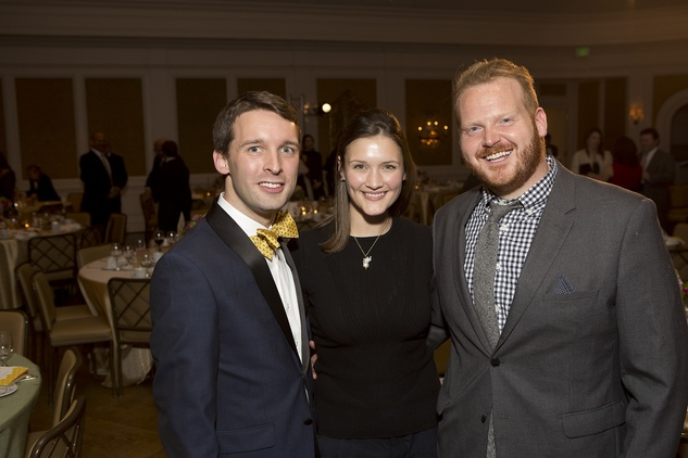 877 Nic Phillips, from left, Annie Eifler and Jeffrey James Binney at the Great Grown-Up Spelling Bee January 2015