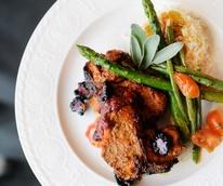 Kiran's Tandoori chicken with rice and asparagus