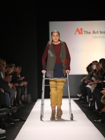 Clifford New York Fashion Week fall 2015 The Art Institutes winners February 2015 Nina Perdoma model Megan Silcott Look 1