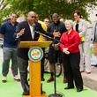 16 Downtown Bicycle Park Connector two-way bike track March 2015 Rodney Ellis with Mayor Annise Parker and Laura Spanjian and other officials