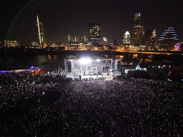 SXSW, crowd, band, stage, Austin skyline
