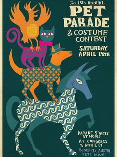 poster Austin Pets Alive! Jo's Coffee 15th annual pet parade