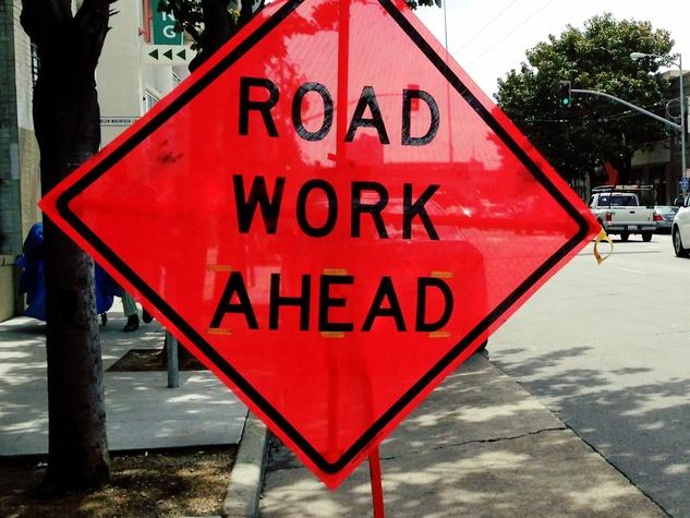 Road work ahead, road work sign