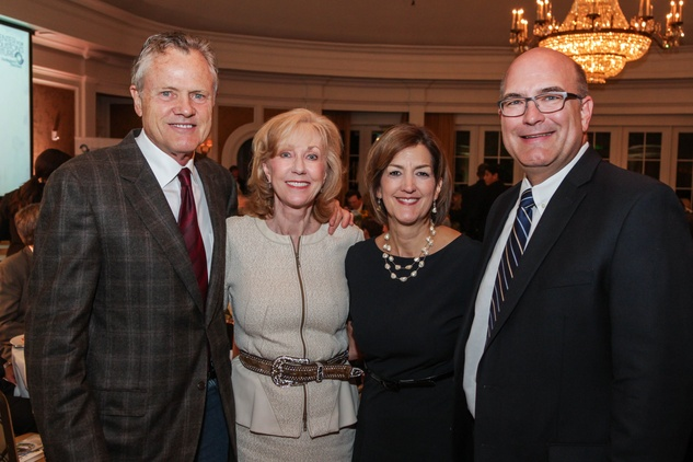 Bill Broyles, from left, Catherine Clark Mosbacher, Anne Taylor and Ed Harris at the Center for Houston's Future dinner November 2014