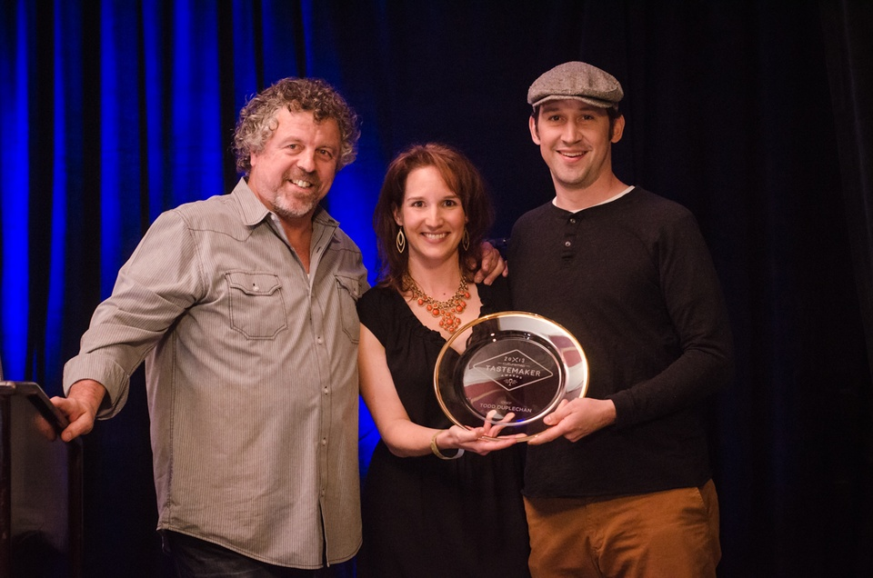 Chef Jack Allen and Jessica Dupuy pose for a photo with Todd Duplechan, who won Best Chef