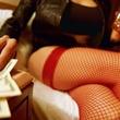 prostitute, hotel room, fishnet hose