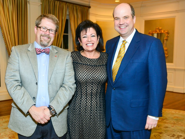 Brent Benoit, from left, Irma Diaz Gonzales and Rives Taylor at the Center for Houston's Future dinner October 2013