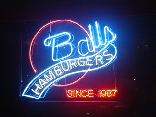 Balls Hamburgers sign in Dallas
