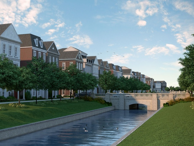Somerset Green gated community Hines rendering February 2015 canals and bridges
