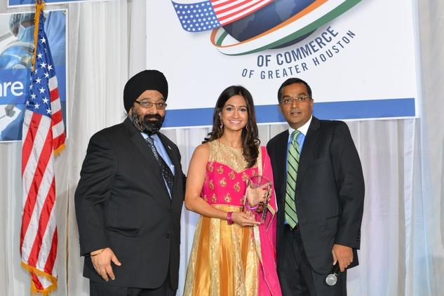 Jagdip Ahluwalla, from left, Rashi Vats and Sanjay Ramabhadran at the IACCGH Gala October 2014