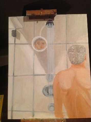 George H.W. Bush, email hacked, February 2013, shower painting