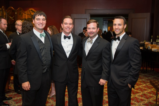 Boran Buturovic, from left, Jeff Jorgensen, Robert Chisholm and Chance Pipitone at the Alley Theatre Wild Things Dinner October 2014