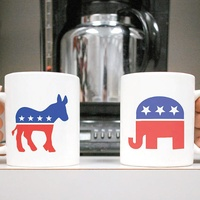 politics in the workplace, coffee mugs, donkey, elephant, Republican, Democrat