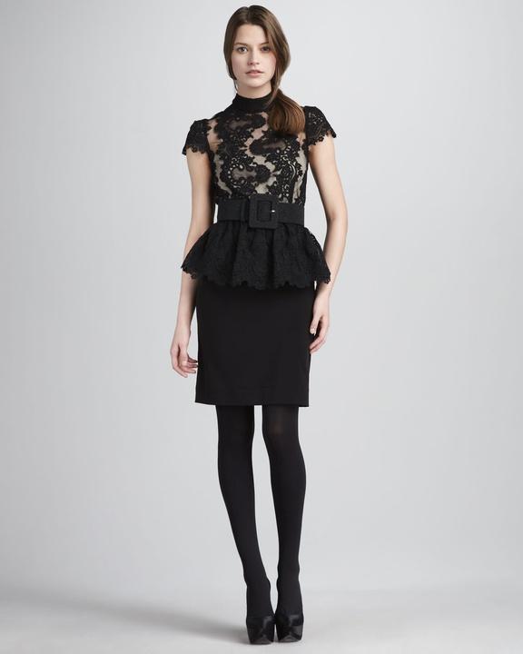 alice + olivia Robyn Lace-Top Peplum Dress & Belt