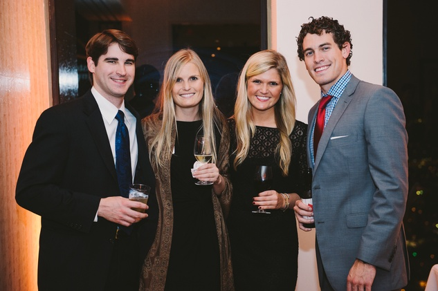 Edward Heap, from left, Lindsay Canning, Kelsey Canning and William Hoke at Houston Symphony Young Professionals Backstage's Luck be a Lady event November 2013