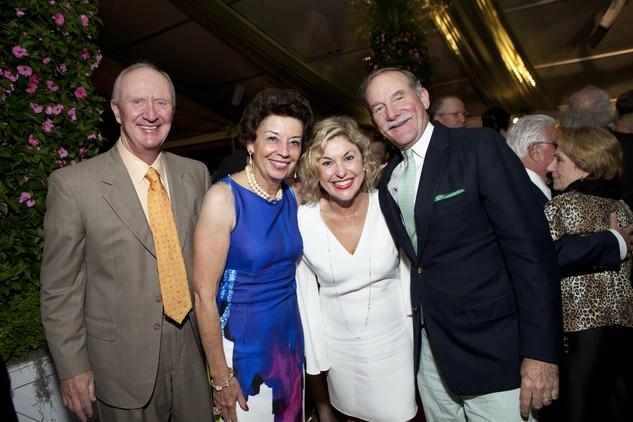 Frank Hevrdejs, from left, Kathy Goossen, Sharyn Weaver and Marty Goossen at the Bayou Bend Garden Party April 2014