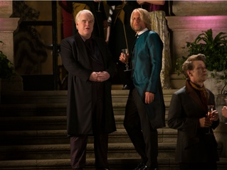 Philip Seymour Hoffman and Woody Harrelson in The Hunger Games: Catching Fire