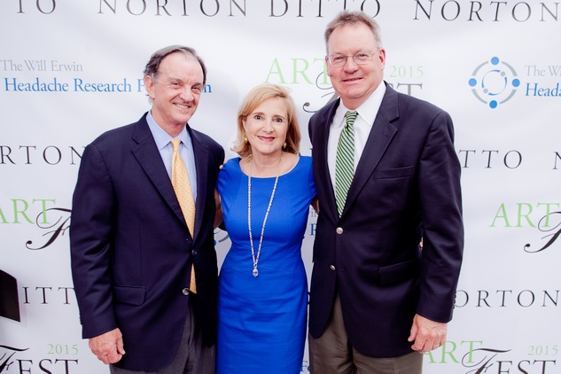 Jimmy and Pam Erwin, left, with John Mooz at the Norton Ditto ArtFest April 2015