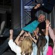 Richard Branson crowd surfs at The Rustic