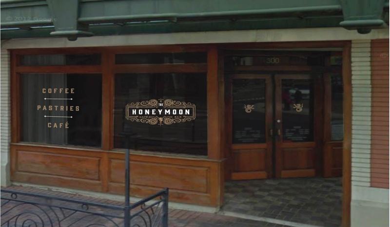 The Honeymoon logo on door rendering
