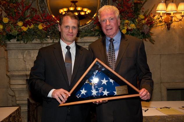James Davison Jr., left, and James E. Davison at the George Bush Presidential Library Foundation dinner December 2013
