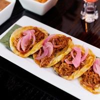 La Bikina in The Woodlands tasting September 2014 Panuchos tacos 2