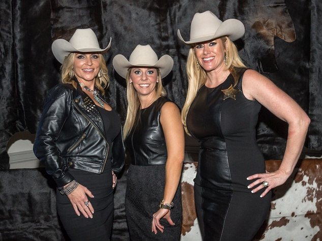 Vicki Matthews, from left, Cassie Bounds and Robin Zumwalt at the HLSR Hide Party January 2014