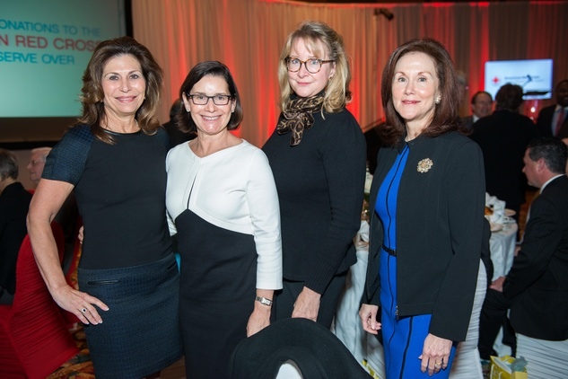 News, Shelby, Red Cross Luncheon, Feb. 2015, Cathy Brock, Randa Weiner, Evelyn Fasnacht, Amy Aubrey