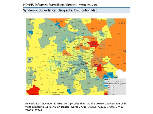 Houston, flu map, by ZIP code, January 2013