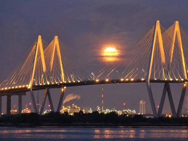 Super moon over the Fred Hartman Bridge...from KPRC, Houston.
