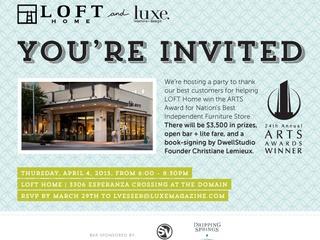Austin photo: Events_ryan_loft home_customer party_apr 2013_loft home flyer