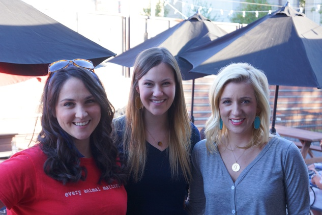 Meredith Wierick, from left, Mary Burtner and  Jessica Mooney at Friends for Life Texans TAILgate party November 2013