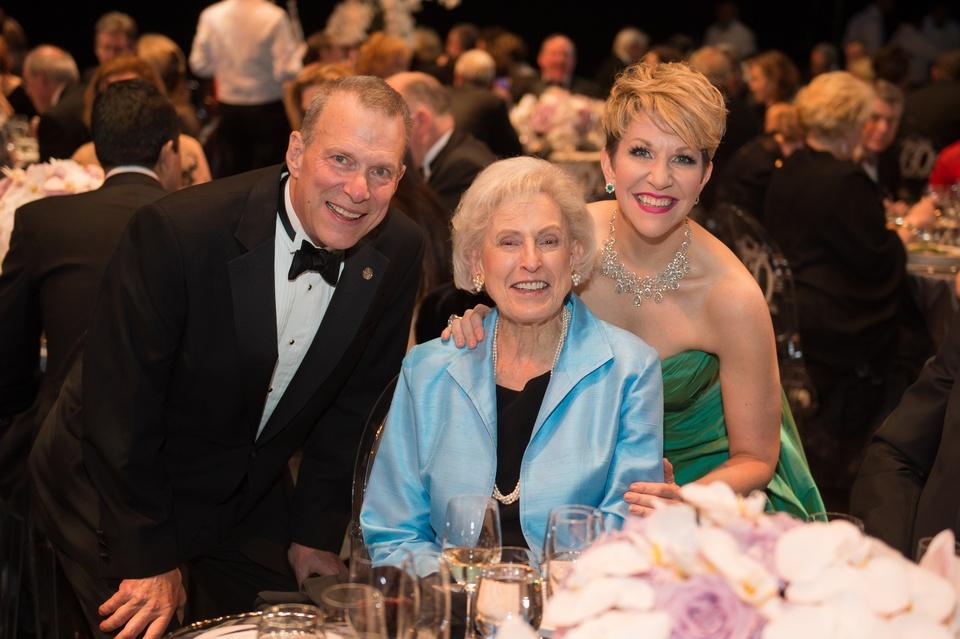 1952 David Gockley, from left, Janice Barrow and Joyce DiDonato at the Houston Grand Opera HGO 60th Anniversary March 2015